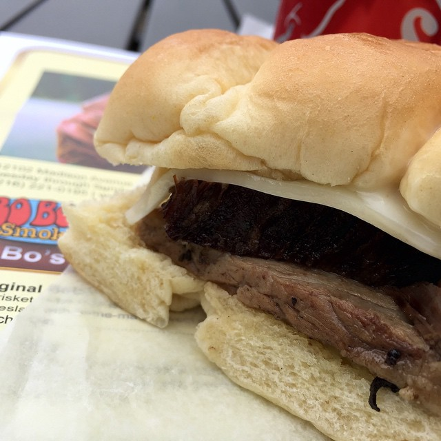 The Prime King Slider smoked brisket sandwich at The Gorillahellip