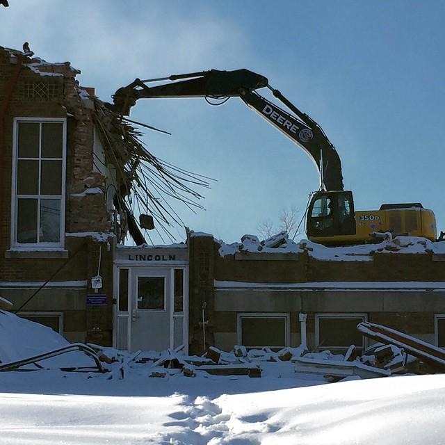 Lincoln Elementary demolition progress Halfway gone