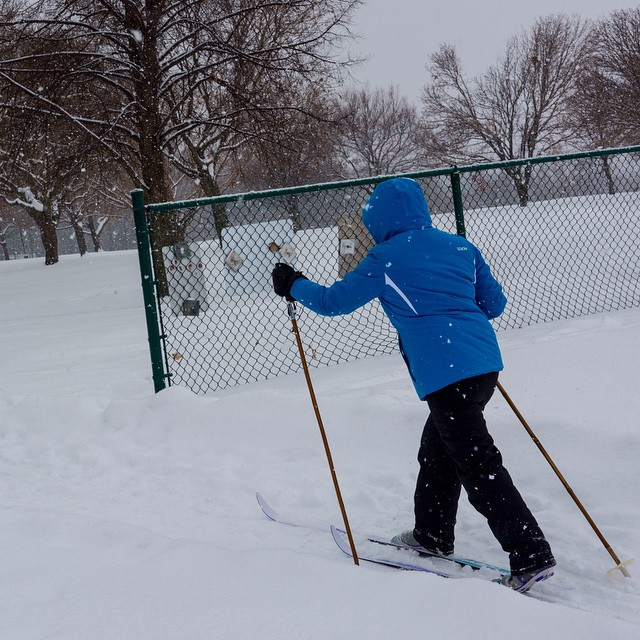 Great way to travel at Lakewood Park snowday