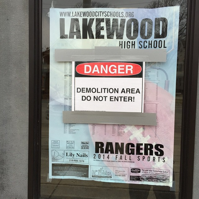 Demolition Sign at Lakewood High School