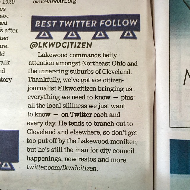 Thanks clevescene! Twitter SocialMedia LakewoodOH Cleveland