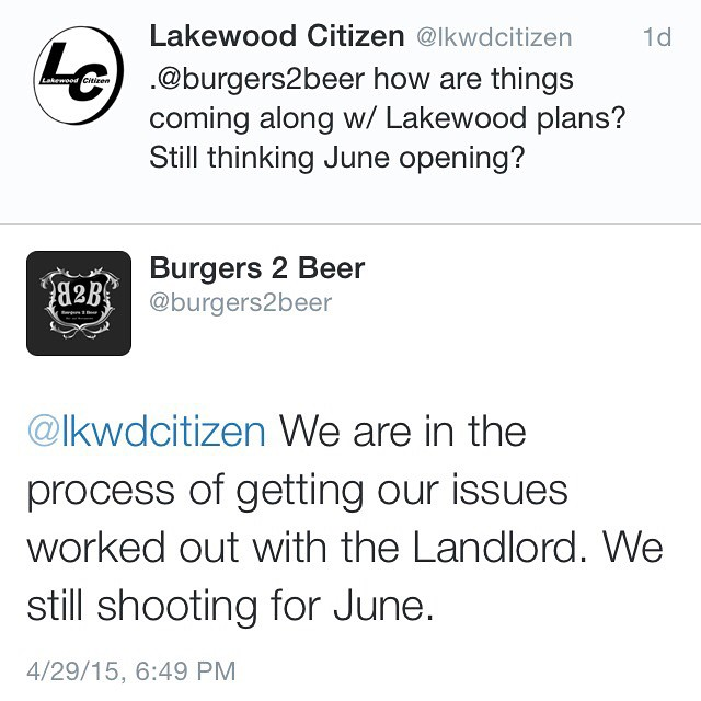 Burgers2Beer still shooting for June opening in Lakewood