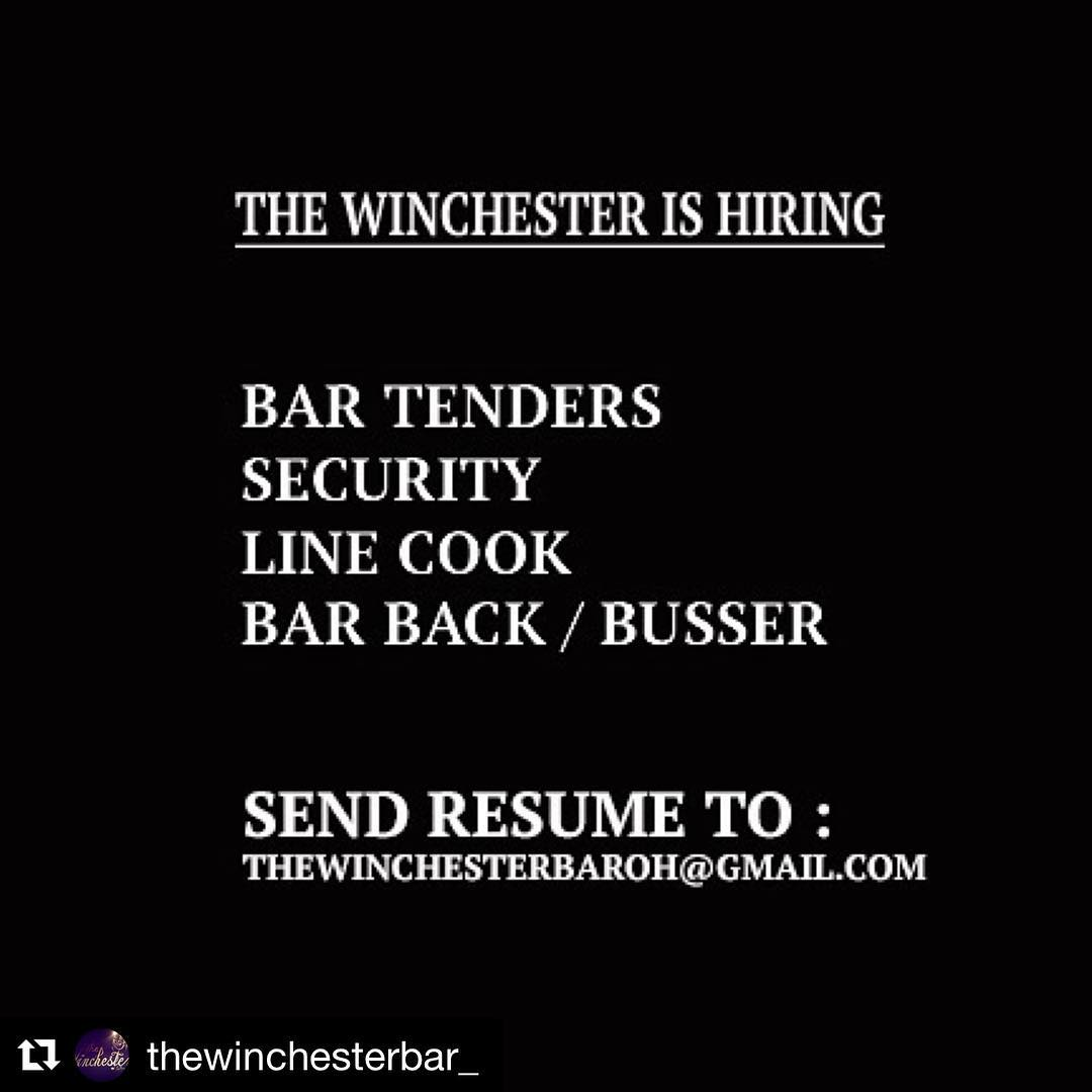 Repost thewinchesterbar getrepost  We are hiring !!!! Send resumehellip