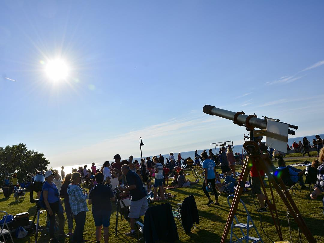 Telescopes and long lenses at Lakewoods Solstice Steps lakeerie longestdayhellip
