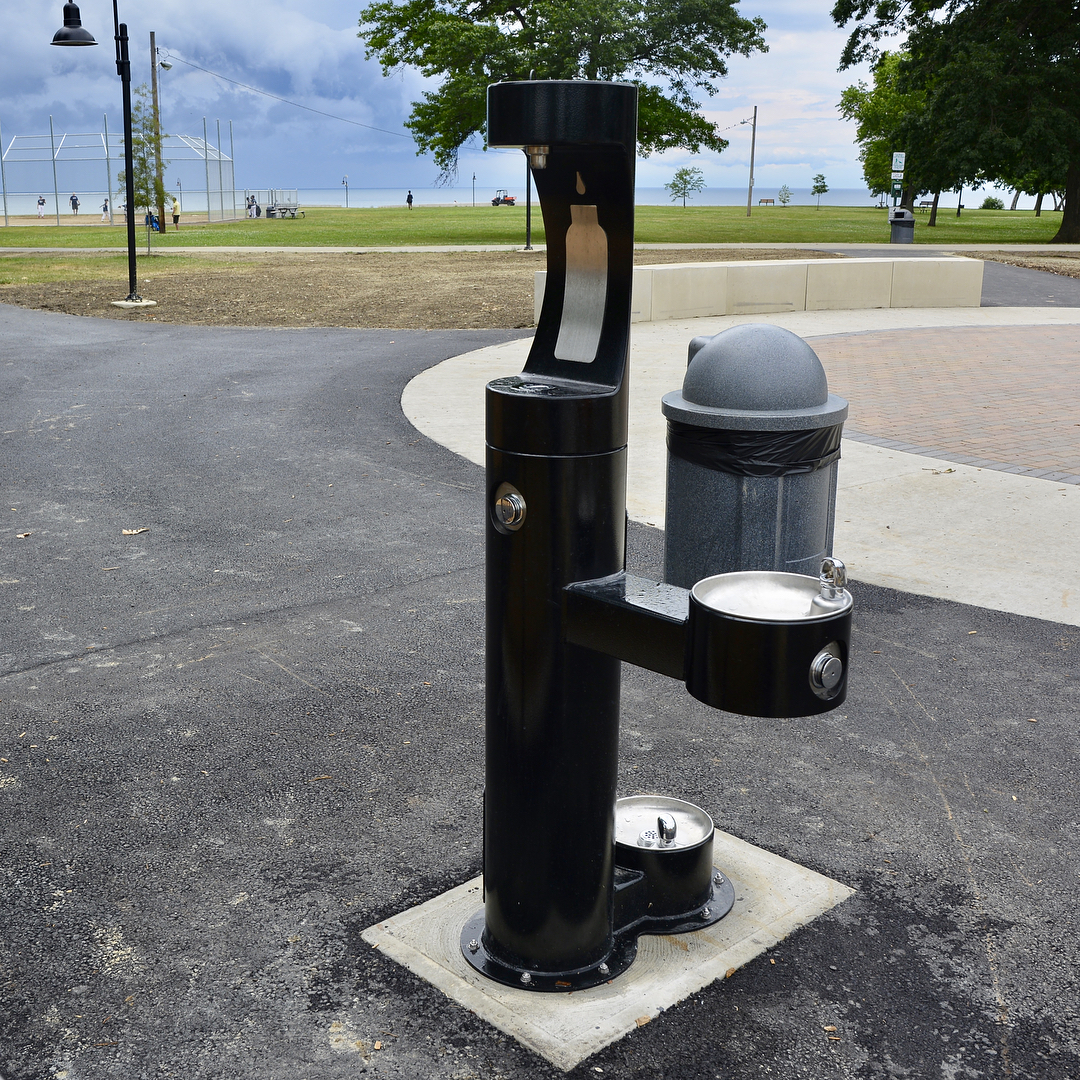 The new drinking fountain at Lakewood Park is dog andhellip