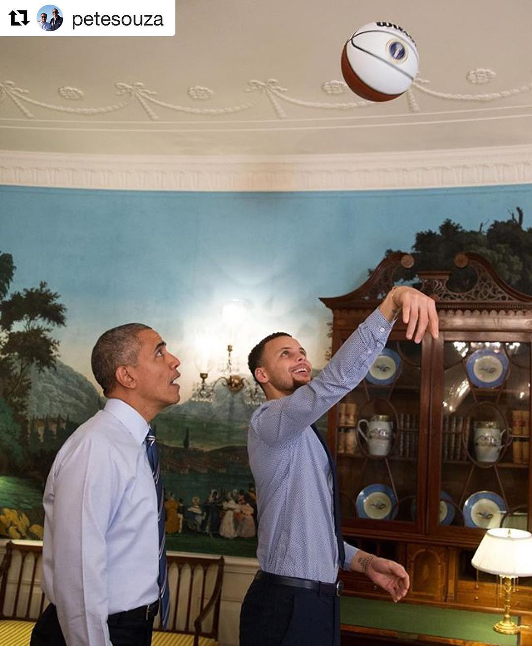 Repost petesouza  President Obama with Steph Curry last yearhellip