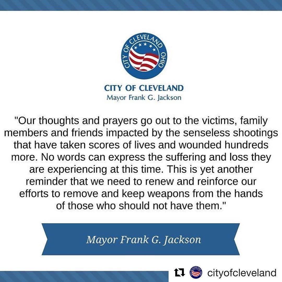 Repost cityofcleveland  CLE Mayor Frank G Jackson sends hishellip