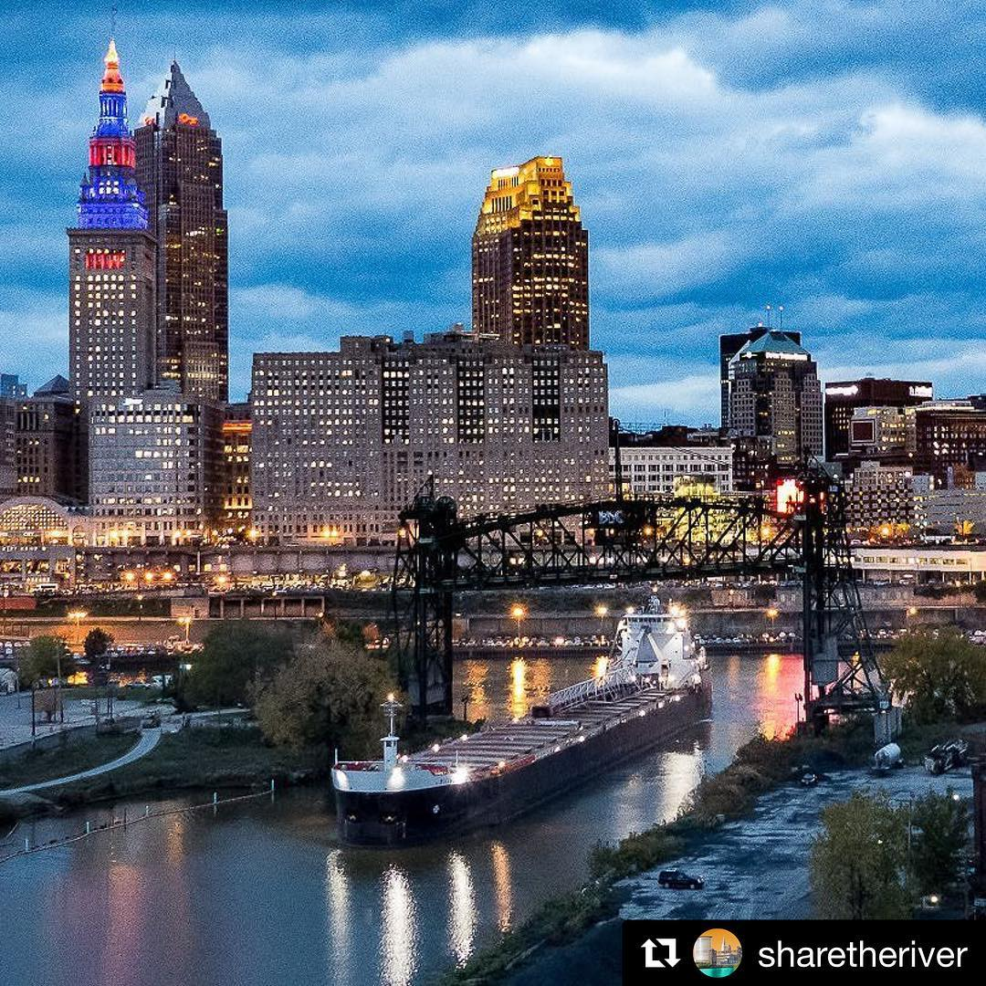 Repost sharetheriver  Freighters are part of Clevelands skyline fromhellip