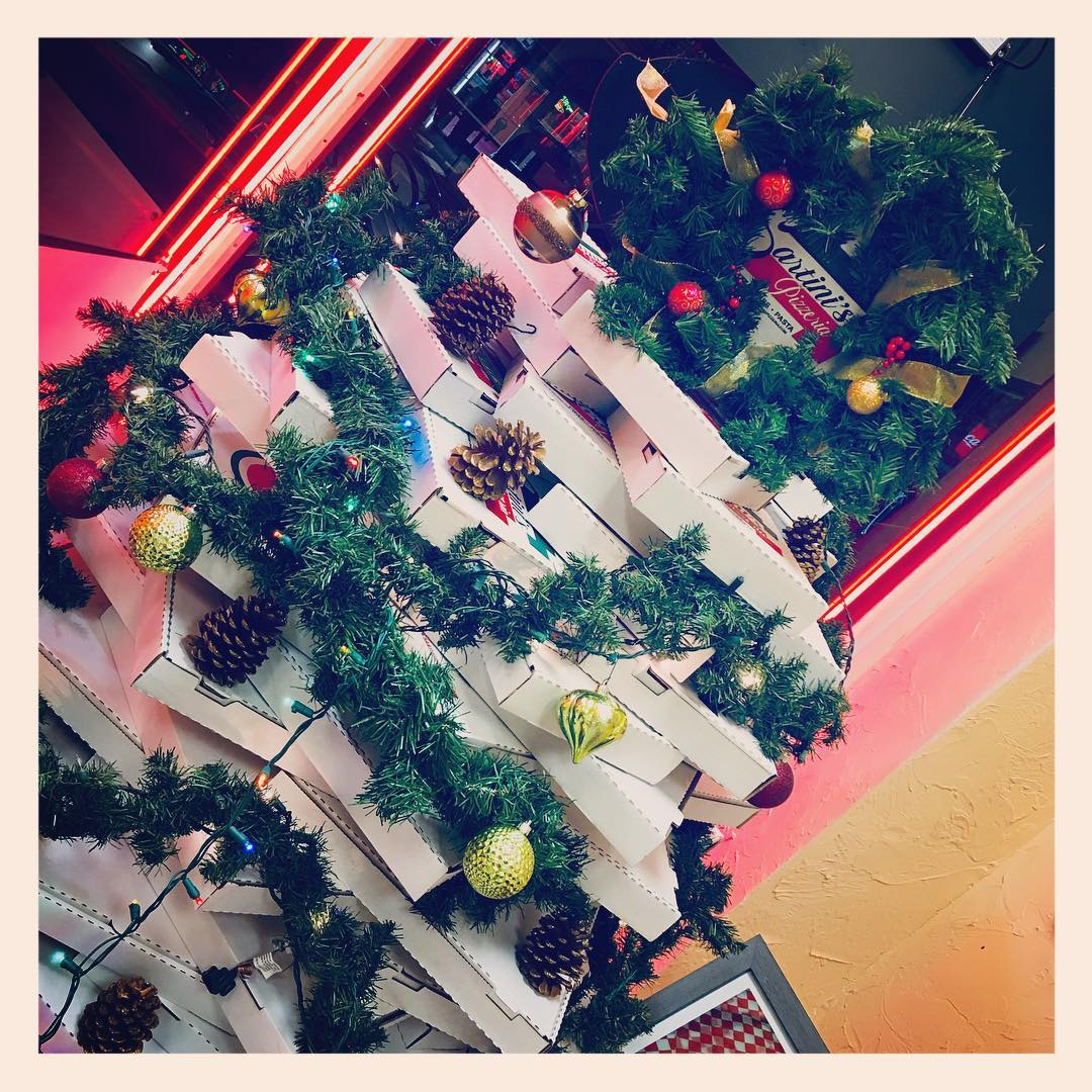 Pizza Box Christmas Tree at Sartinis Pizza in Lakewood christmastreesofinstagram