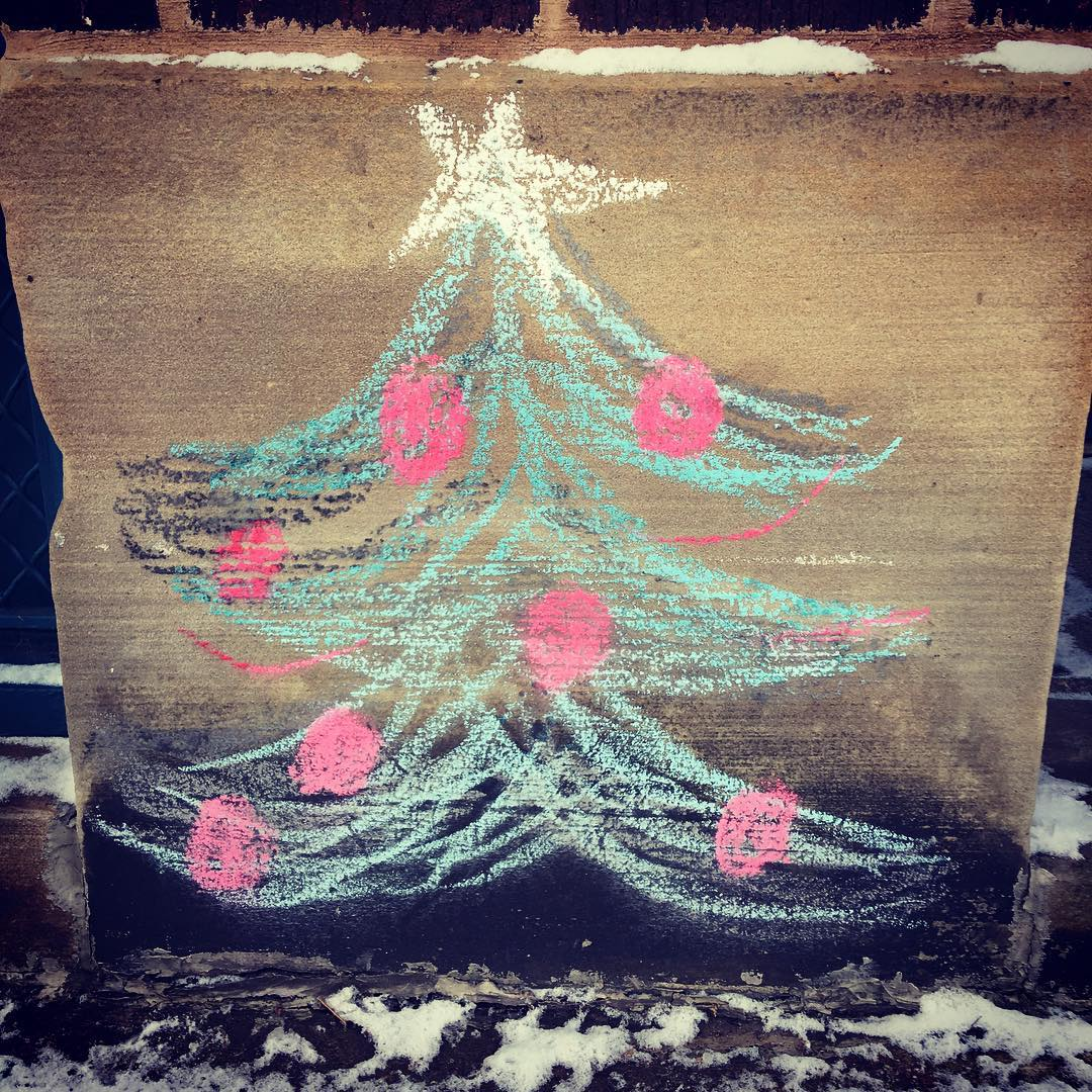 Merry Christmas! Chalk Christmas tree on Madison Ave lakewood christmastreesofinstagramhellip