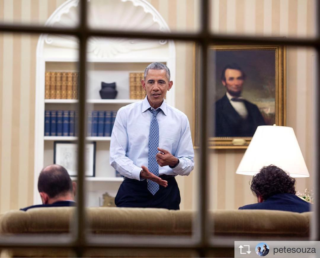 Repost from petesouza From 2016 dictating the first draft ofhellip