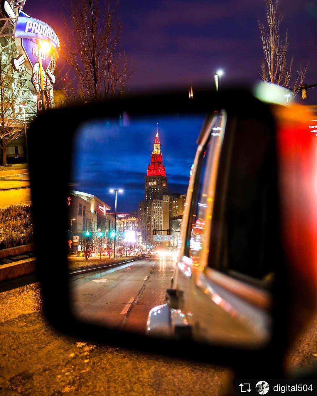 Repost from digital504 Wednesday night reflections in downtown CLE ohiohellip