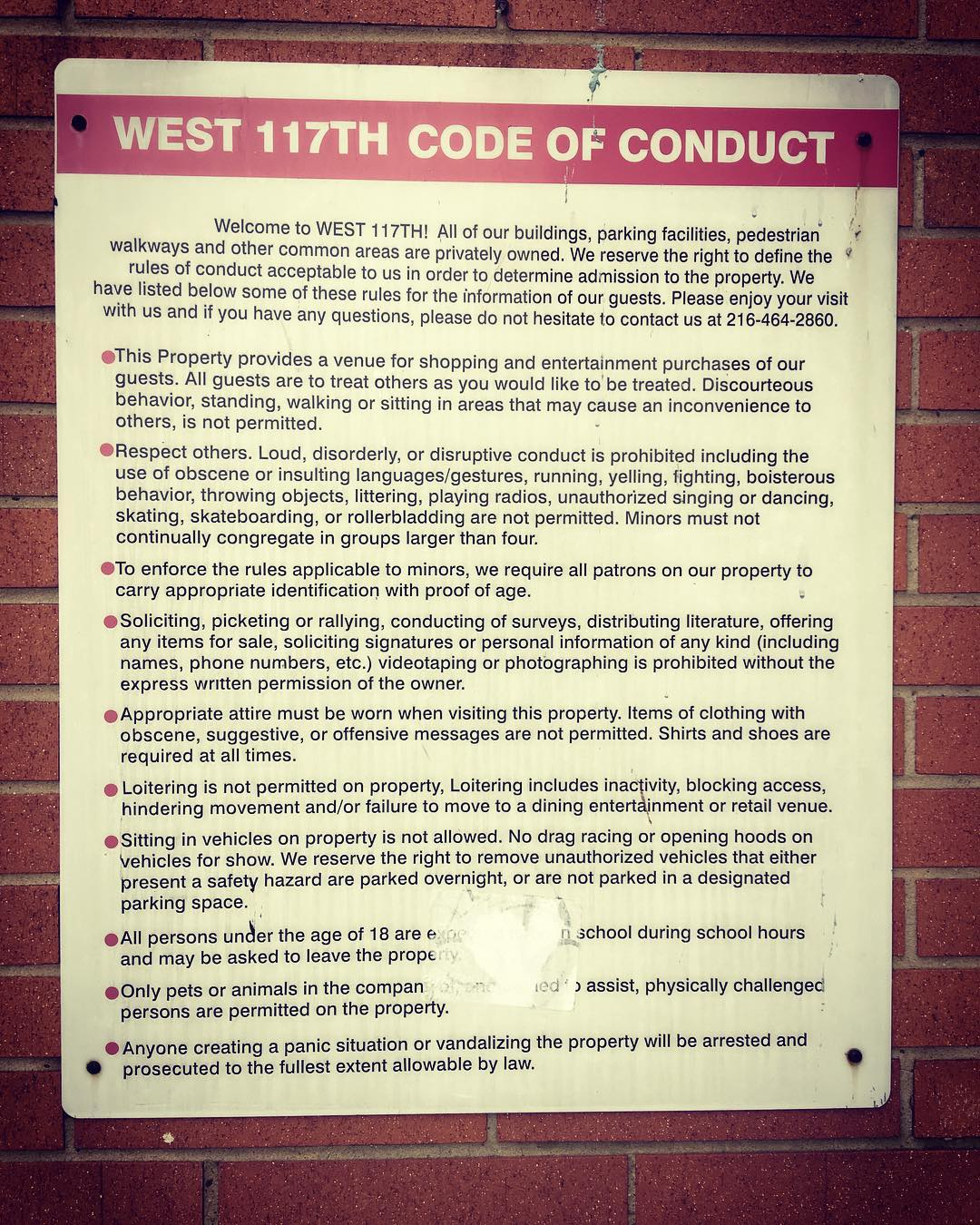 FYI West 117th Code of Conduct  posted next tohellip